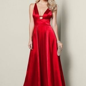 Red silky evening dress